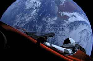 SpaceX Tesla Car in the Orbit of the Earth